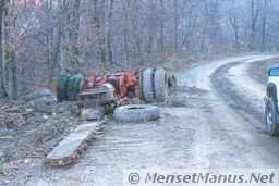 Mining equipment next to road - front